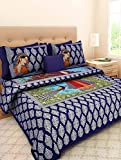 Jaipuri Handicraft Miniature Print Rajasthani Traditional 210 TC Cotton Bedsheet with 2 Pillow Covers - King Size, Blue