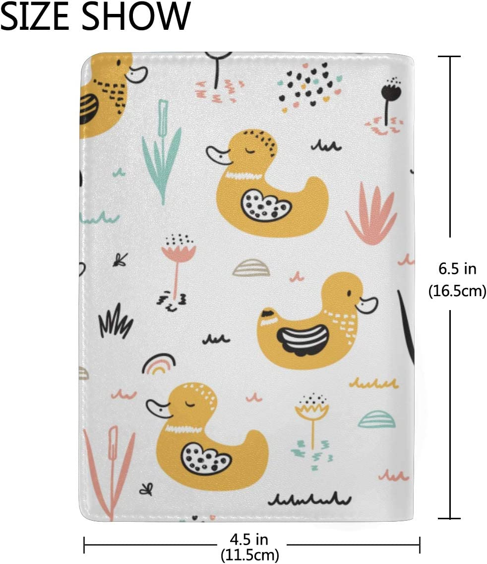 Mens Passport Case Mother Duck With Her Cute Ducklings Stylish Pu Leather Travel Accessories Passport Hard Case For Women Men
