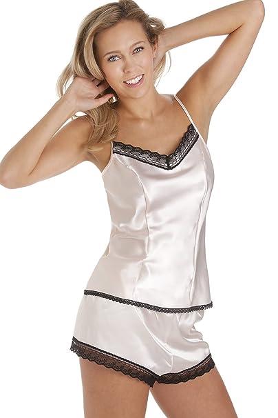 Conjunto de pijama con camisola - Satén - Rosa claro: Amazon.es: Ropa y accesorios