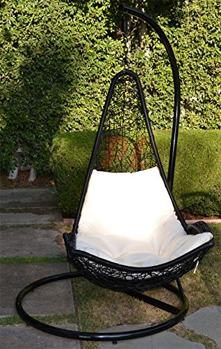 Egg Shape Wicker Rattan Swing Bed Chair Weaving Hanging Hammock  Black /  Khaki