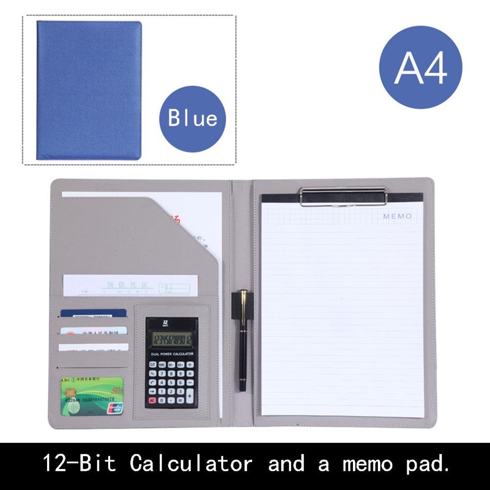 fichier ordinateur portable A4avec calculatrice et stylo Memo Diaries carte de crédit Slot Cuir PU livre stationnaire documents support multifonction bloc-notes bleu BenHu