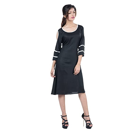 Mamosa Black Rayon 34 Sleeve Cold Shoulder Midi Short Dress Maxi