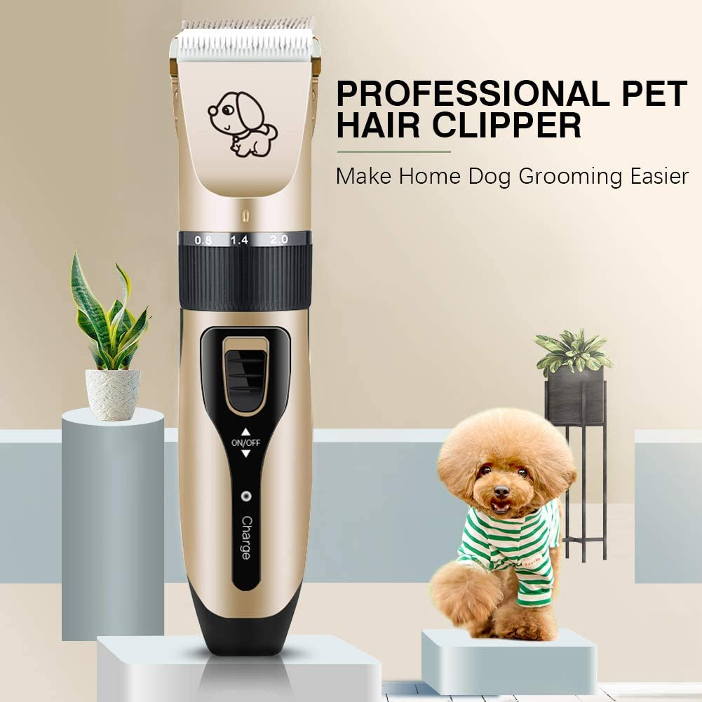Supoggy Professional Dog Clippers, Rechargeable Cordless Dog Grooming kit, Low Noise Pet Hair Clipper Trimmer Shaver with Comb Guides Scissors Nail Kits for Dogs Cats