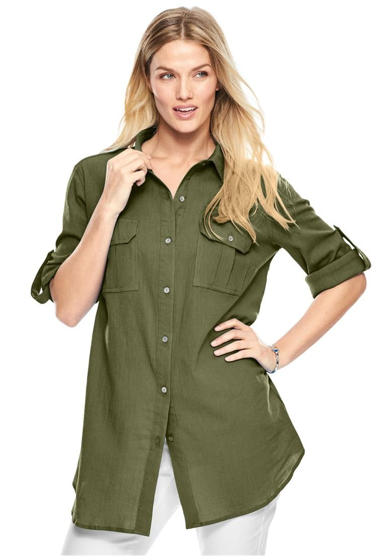 Women's Plus Size Cotton Gauze Shirt