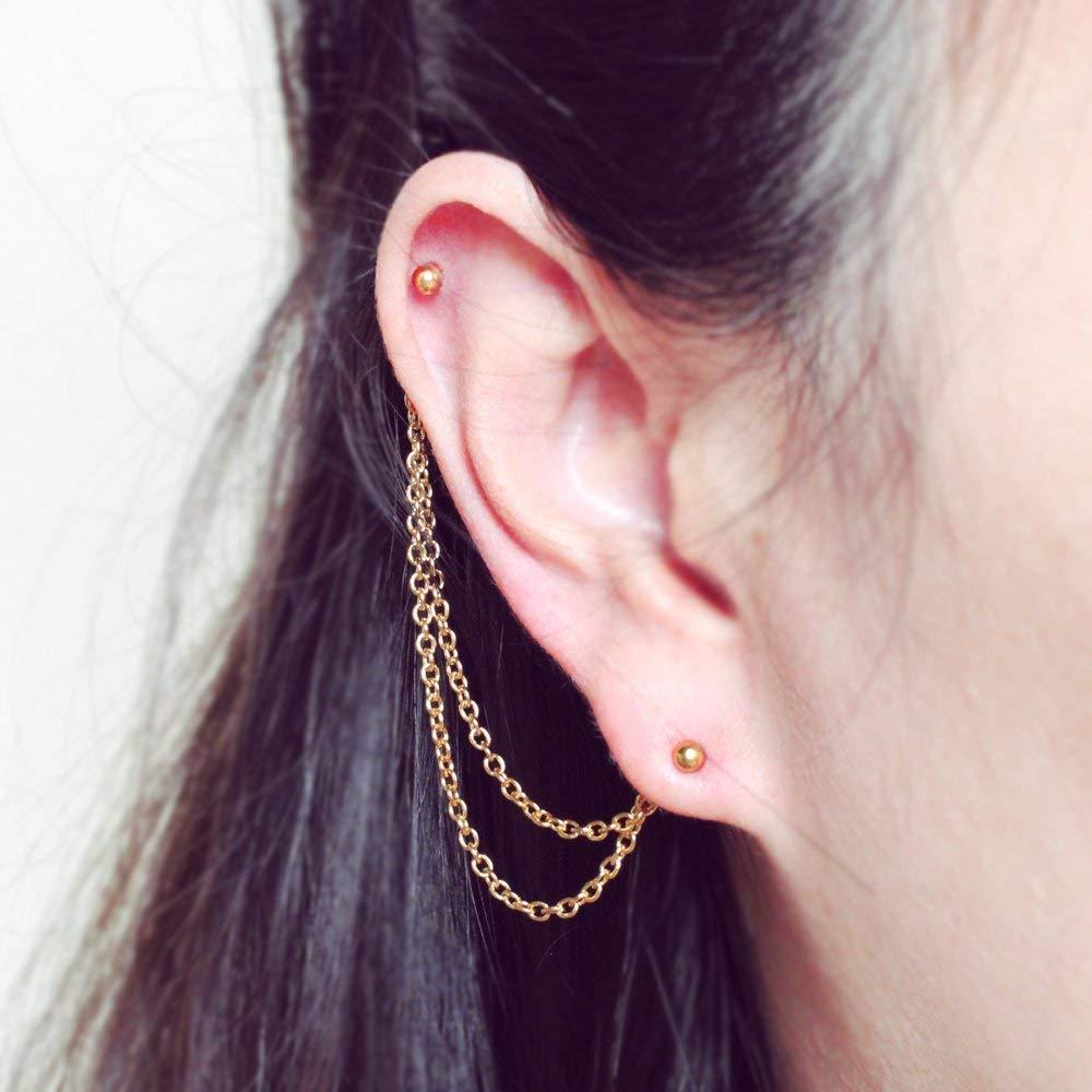 Amazon Com Helix To Lobe Chain Earring 20g Dangle Chain Earring Helix Earring Ear Cartilage Piercing Chain Jewelry Stainless Steel Handmade