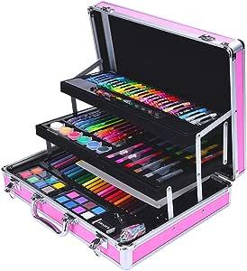 Los niños del dibujo del arte Conjuntos Estuche para lápices de colores, material de dibujo, kit de herramientas para adolescentes, niños, 158 piezas, juego de arte para niños Sistema de la pintura