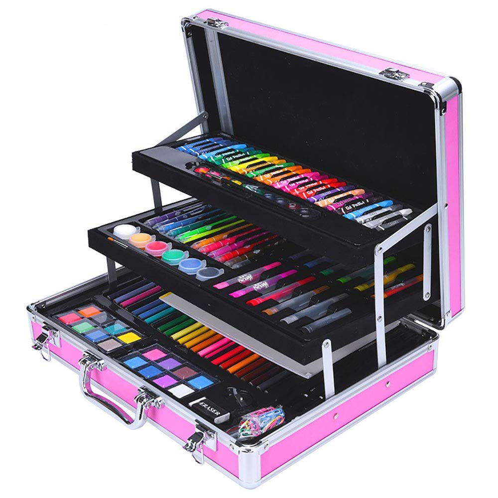 Children's Watercolor Pen Set 158 Piece Children's Art Set Colored Pencils Case Drawing Supplies Tools Kit For Teens Kids Colored Pencil Set DIY Painting Tools ( Color : Pink , Size : Free size )