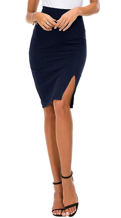 Urban CoCo - Falda de cintura elástica para mujer con dobladillo y cintura lateralhttps://amzn.to/2OQ9R8W