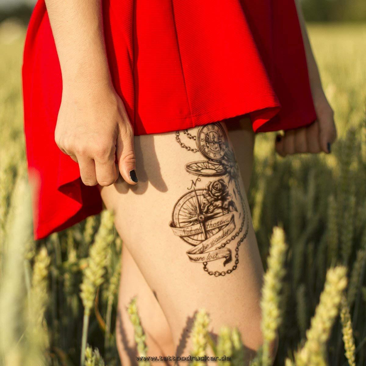 Brújula Reloj XL Tattoo en negro - Fake temporäres una vez Cuerpo adhesivo hb881, negro, 1 x Kompass-Uhr HB-881 Tattoo: Amazon.es: Hogar