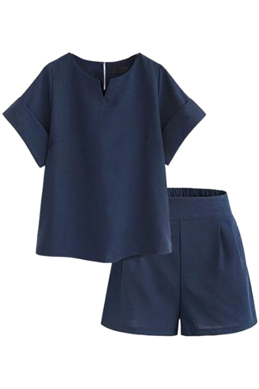 Women 2 Pieces Tee Top Formal Work Short Length Plus Size Palazzo Pants Suit Sets UKVI1015