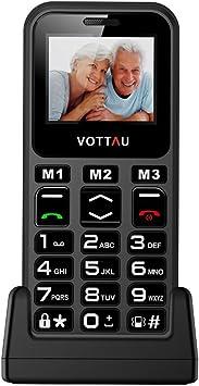 Teléfonos móviles para Mayores, VOTTAU E09 Banda Quad gsm Teléfono Móvil Botón Grande Celular fácil de Usar Celular para Ancianos con SOS Botones