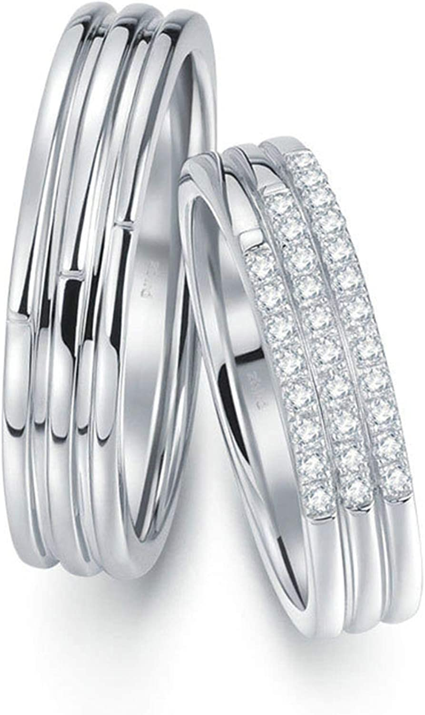 ANAZOZ Anillos 2PCS Anillos Mujer Hombre Oro Blanco 18K Anillos Redondo con Tres Filas Diamante Blanco 0.15ct Plata