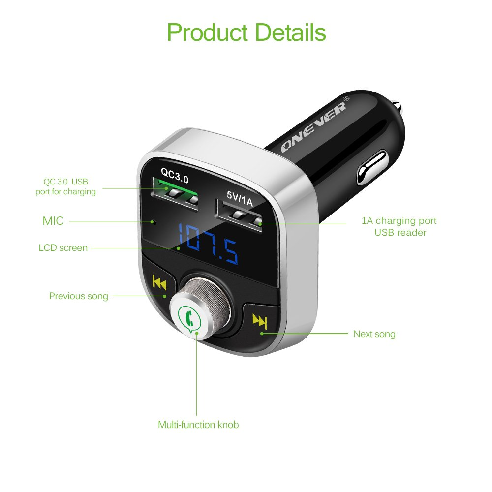 Onever Bluetooth Fm Transmitter With Quick Charge 30 Three Stage 9v Dual Usb Car Charger Mp3 Music Player Wireless In Radio Adapter Hands Free