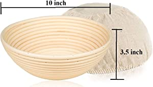 10 inch Round Bread Banneton Proofing Basket & Liner SUGUS HOUSE Brotform Dough Rising Rattan Handmade rattan bowl - Perfect For Artisan