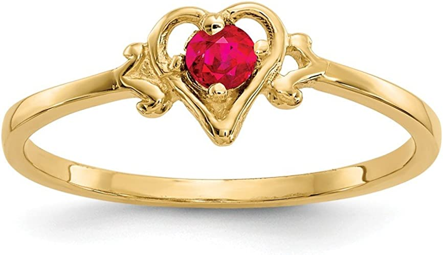 Jewelry Adviser Rings 14k White Gold 6mm Heart Created Ruby ring