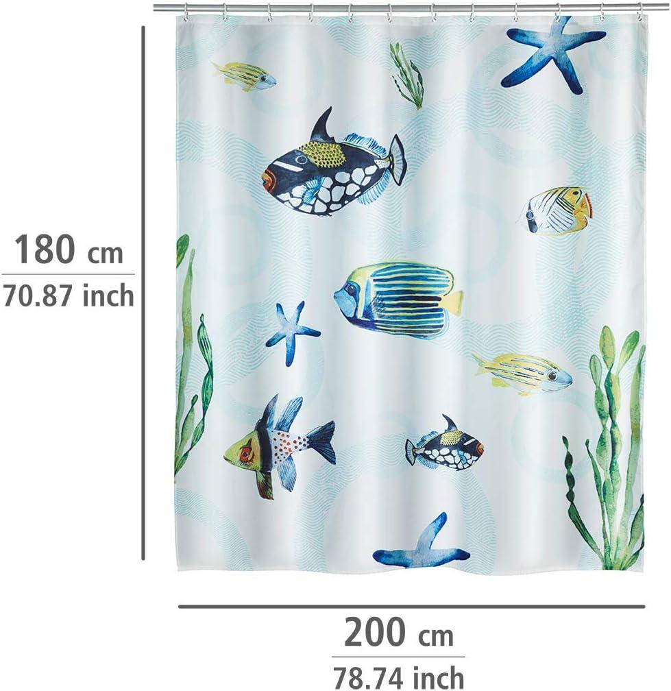 Poliestere con 12/Anelli da Tenda da Doccia 180/x 200/x 0.1/cm Wenko Tenda da Doccia Aquaria Lavabile Multicolore Resistente all Acqua
