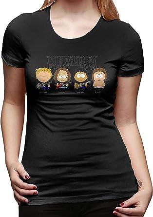 Camiseta Sexy de diseño de Mujer Camiseta Divertida de Manga Corta Metallica Negra: Amazon.es: Ropa y accesorios