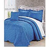 4 Piece Palace Blue Oversized Damask Bedspread Set Queen, French Country Shabby Chic Floral Pattern Luxury Bedding, To The Floor Drapes Over Edge Scalloped Edges Extra Long, Microfiber Polyester
