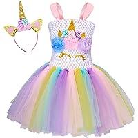 AmzBarley Unicornio/Sirena Vestidos Princesa Niña Fiesta de Tul Tutu con Encaje de Flor sin Mangas Disfraz Halloween…