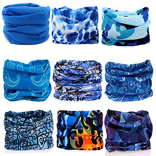 KALILY 9pcs Headwear Camo Headbands Scarf Head Wrap Mask Sweatband -12 in 1 Multifunctional Sport Headband Neck Warmer for Yoga, Camping, Fishing, Hiking, Running, Motorcycling, Skiing