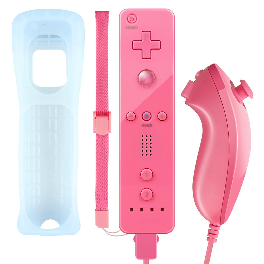 Wii Remote Controller Zoewal FA01 Wii Remote with Silicone Case Wrist Strap for Wii u Games-Peach(Third-party manufacturing)