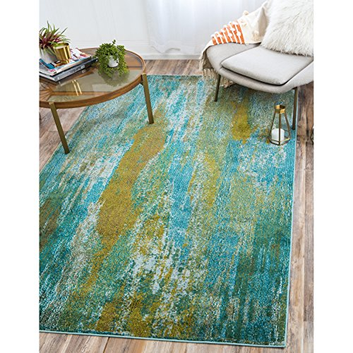 Jardine Collection - Unique Loom Jardin Collection Vibrant Abstract Turquoise Area Rug (7' x 10')