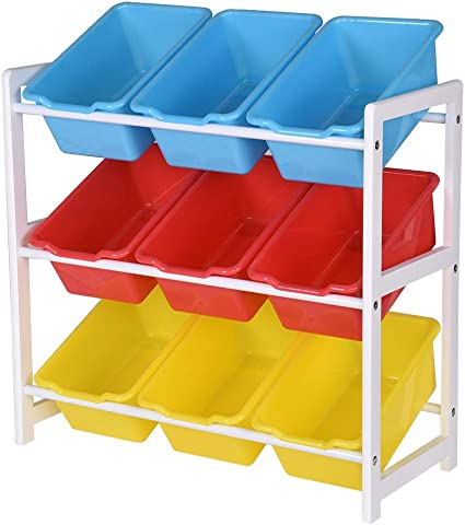 Solid Wood Toy Rack Kids/' Toy Storage Organizer Children Finishing Storage Rack