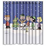 Custom Charlie Brown Christmas and Snoopy Waterproof Polyester Fabric Bathroom Shower Curtain Standard Size 66(w)x72(h) by Shower Curtain