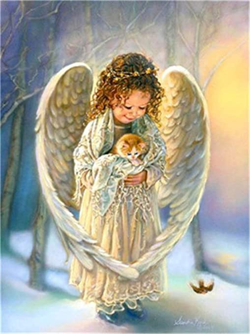 Kit de pintura al óleo para decoración del hogar con números de pintura, regalo de valor para la pared – Ángel niña sosteniendo gato 16 x 20 pulgadas