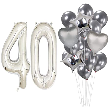 MAGJUCHE 40 Pulgadas Plata 40 cumpleaños Helio Jumbo Digital ...