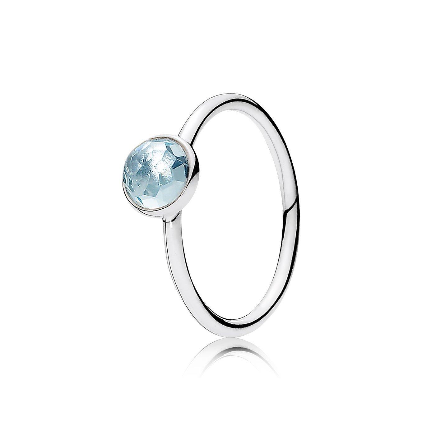 Amazon.com: PANDORA March Droplet Ring, Aqua Blue Crystal ...