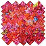 Kaffe Fassett RICH REDS MAGENTA PINK Precut 5-inch Cotton Fabric Quilting Squares Charm Pack Assortment Westminster Fibers