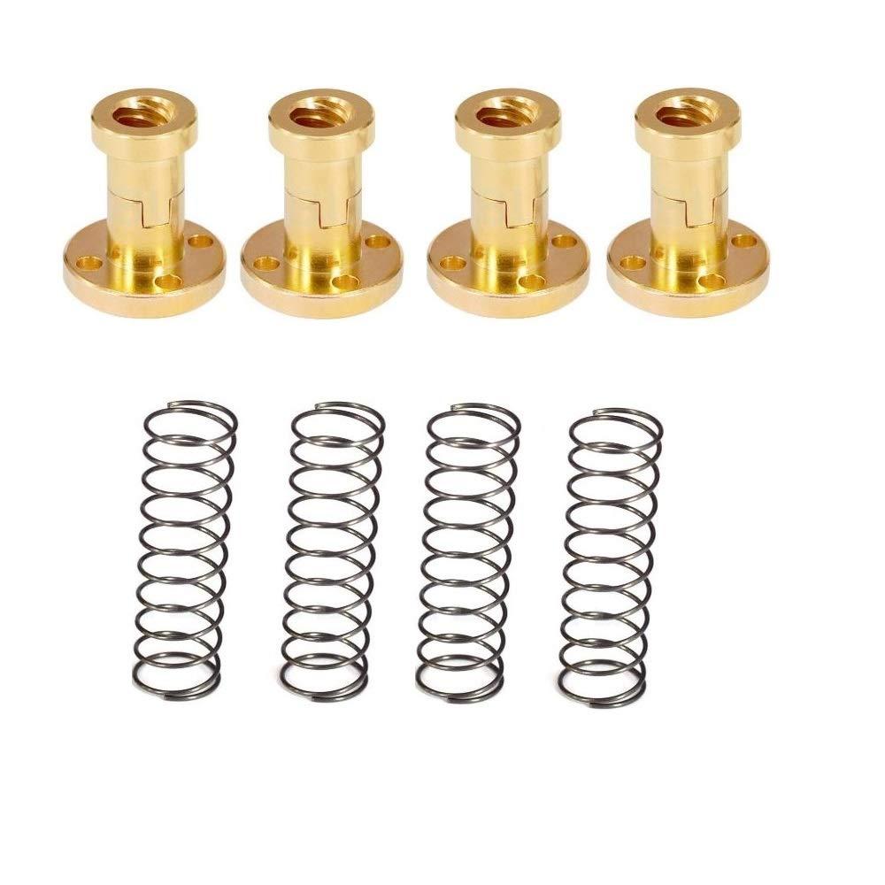 Flylock 4 Set T8 Anti Backlash Spring Loaded Nut Elimination Gap Nut for 8mm Acme Threaded Rod Lead Screws for 3D Printer T8 Lead Screw