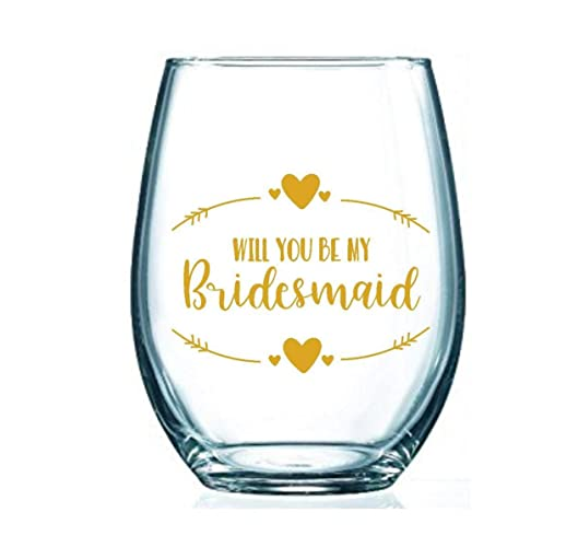 1fdb905ef3f Image Unavailable. Image not available for. Color: Will You Be My Bridesmaid  Stemless Wine Glass ...