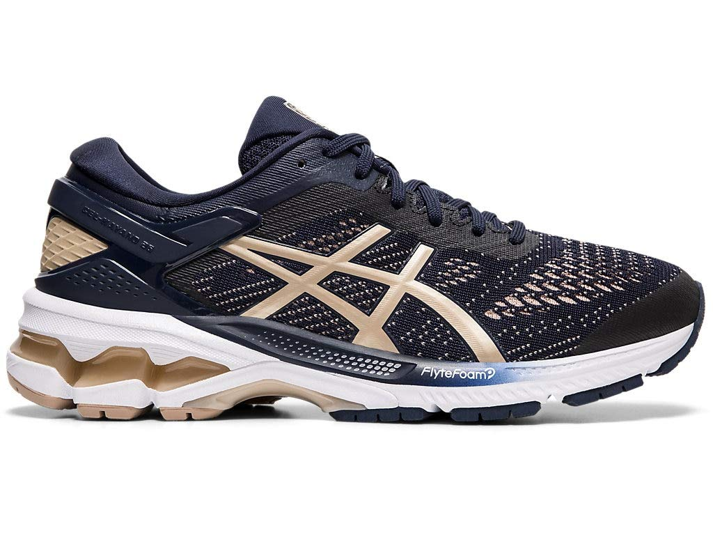 ASICS Women's Gel-Kayano 26 Running Shoes, 5M, Midnight/Frosted Almond