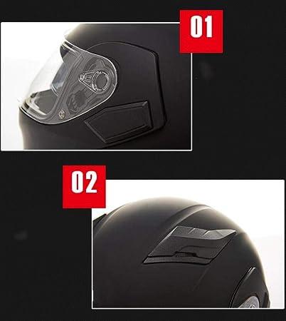 Motorradhelm M/änner und Frauen Anti-Fog-Doppellinsenhelm Motorrad-Volldeckel-Integralhelm Vier-Jahreszeiten-Helm