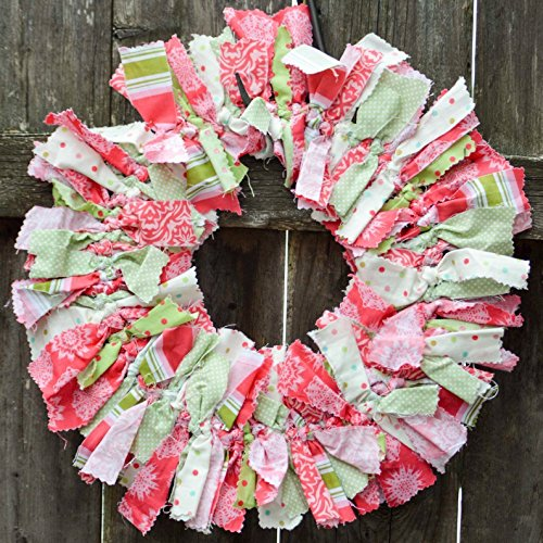 Shabby Rag - Preppy pink and green Decorative Fabric Rag Wreath ~ Shabby Chic Decor for the Home