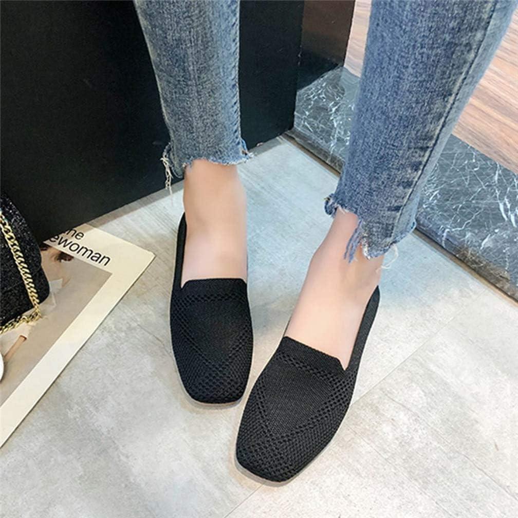 Printemps Femmes Mocassins Maille Ballerines Respirantes Mode Bout Carré Chaussures Simples Bouche Peu Profonde Slip on Chaussures De Conduite Noir