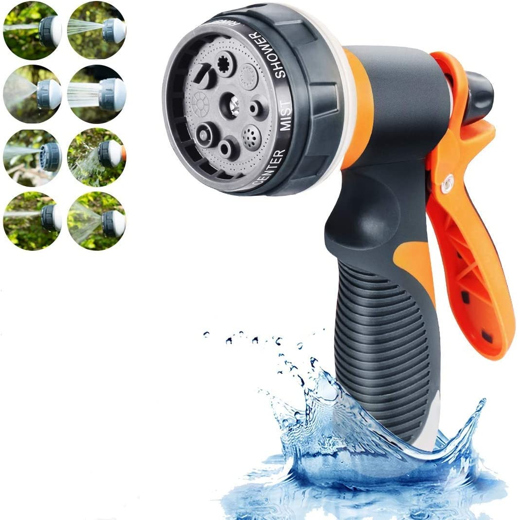 Winkin Garden Hose Spray Nozzle Water Hose Nozzle 8 Adjustable E3d V6 Pressure Washer Nozzle ABS Non-slip Ergonomic Grip Nozzle Perfect for Cleaning,watering Plants,Washing Cars and Showering Dog&Pets