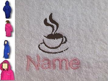 Albornoz con capucha infantil con una bebida caliente Logo y nombre de tu elección, edad 12 en rosa: Amazon.es: Hogar