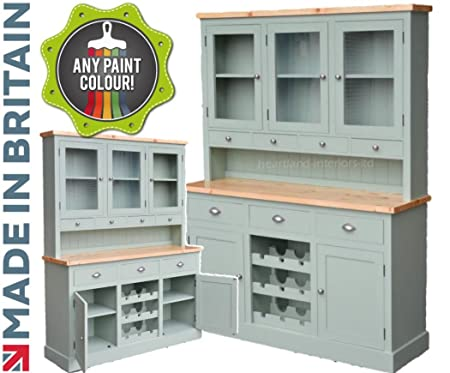 100% Solid Wood 5ft Buffet Hutch, Handcrafted & F&B Painted Bordeaux ...