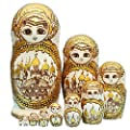 Cute Gold Little Girl In Moscow Kremlin Handmade Wooden Traditional Russian Nesting Dolls Matryoshka Dolls Set 10 Pieces For Kids Toy Birthday Christmas Gift Home Decoration