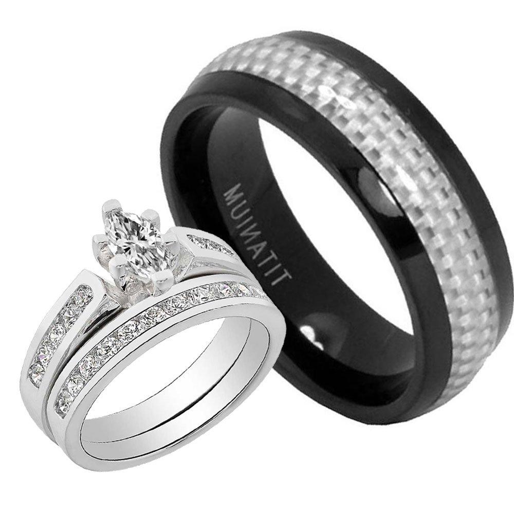 His & Hers 1.1CT Sterling Silver 925 Cubic Zirconia White Fiber Titanium 3 pcs Bridal Ring Set 10 Janjewelry R_1000003'37014_A9A_A8B