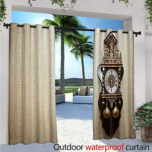 Striped Clock Wood (Clock Patio Curtains an Antique Style Wood Carving Clock with Roman Numerals Hanging on The Wall Design Outdoor Curtain for Patio,Outdoor Patio Curtains W108 x L84 Brown and Tan)