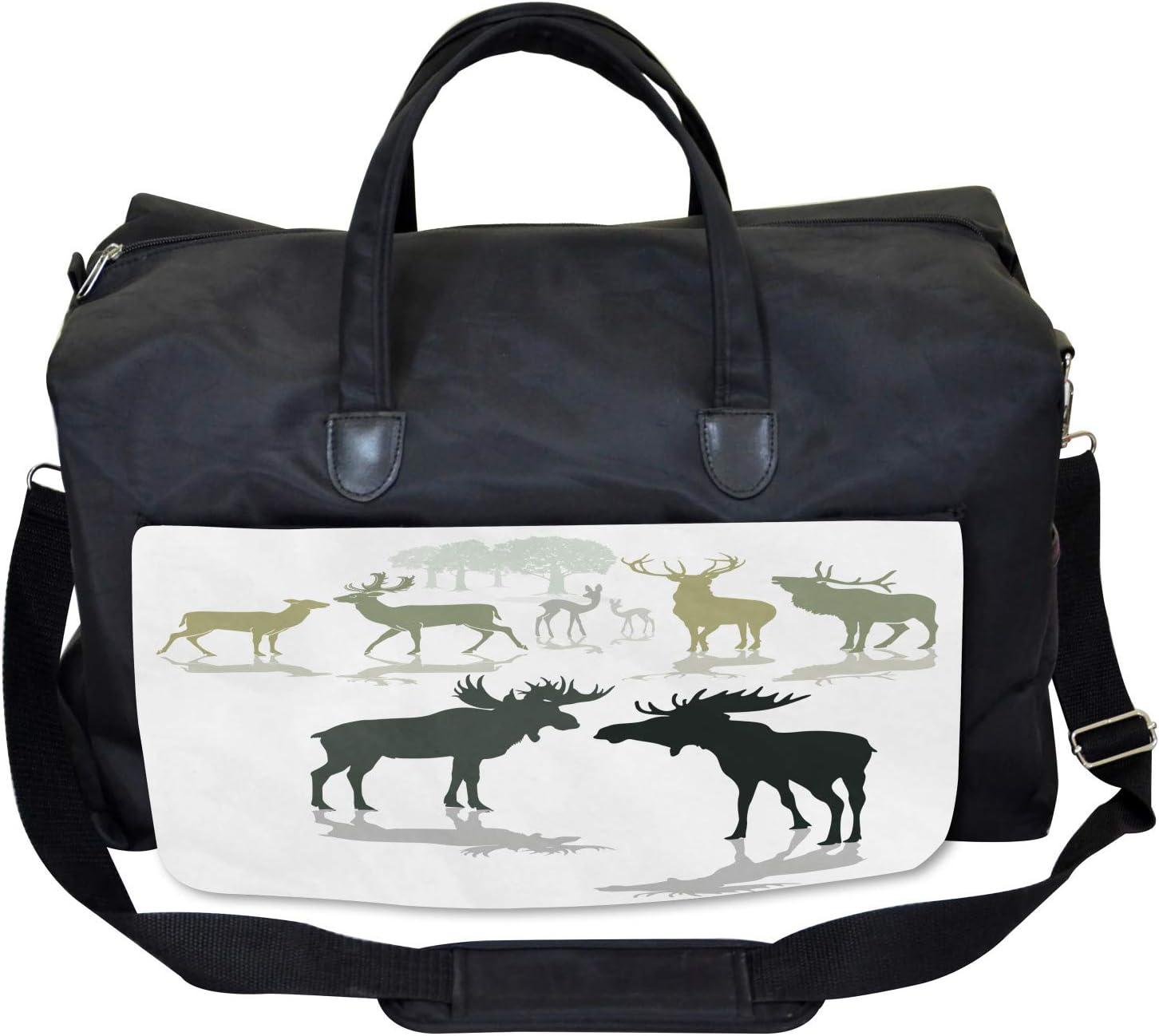 Ambesonne Antlers Gym Bag Large Weekender Carry-on Elk Deer Fawn Forest