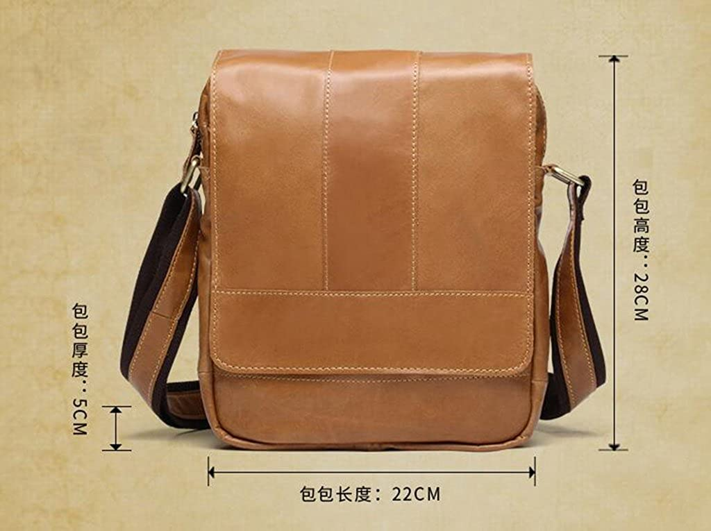 Leather Man Bag Mens Messenger Shoulder Bag Mobile Phone Belt Pouch with Top Handle 22x5x28cm