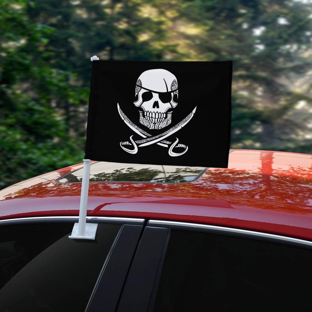 GRAPHICS /& MORE Pirate Skull Crossed Swords Tattoo Design Car Truck Flag Window Clip On Pole Holder