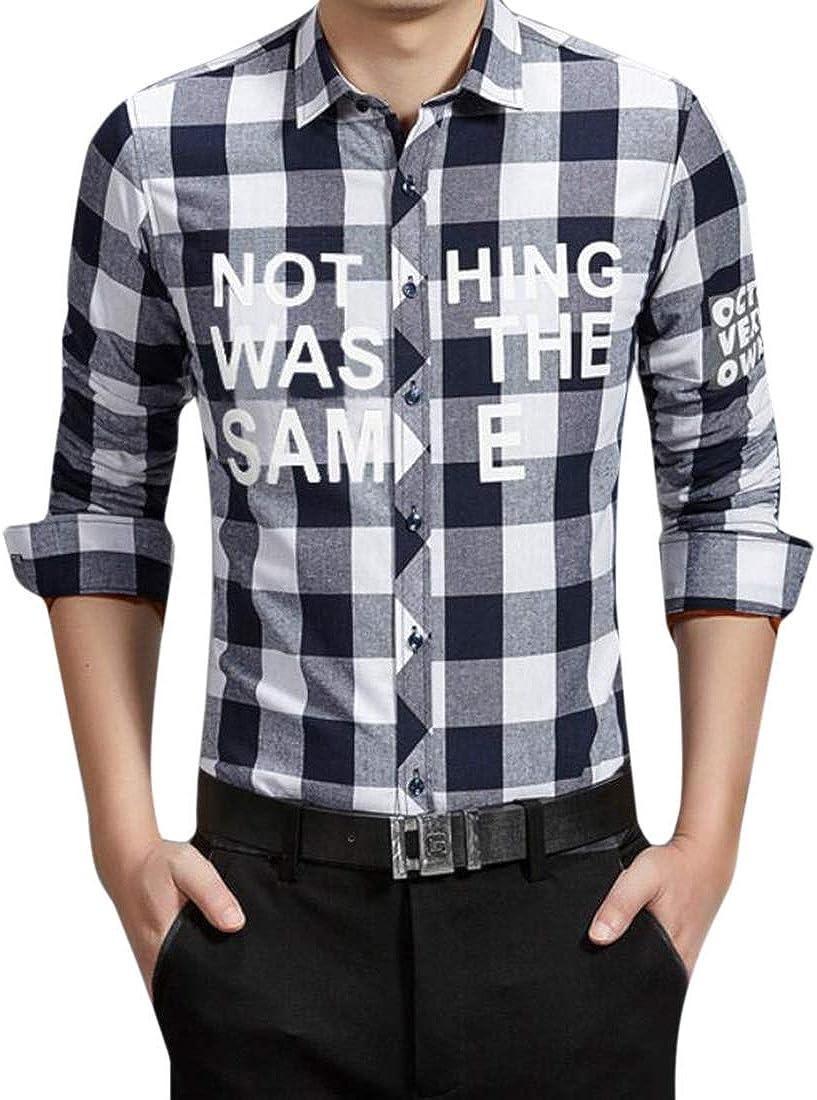 X-Future Men Classic Buttons Plaid Letters Print Linen Fleece Dress Shirts
