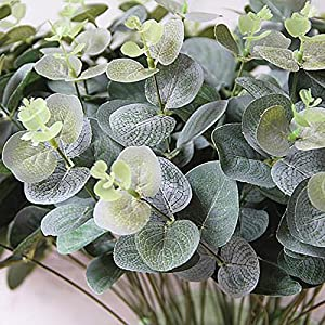 Alelife Artificial Fake Leaf Eucalyptus Leave Simulation Leaves Wedding Bouquet Party Home Decor (Green) 3
