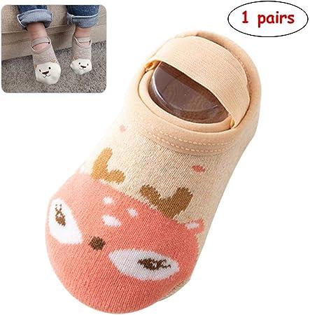 Ooouse 1 par de calcetines para bebé, calcetines 100% algodón antideslizantes con dibujos animados, calcetines para recién nacidos, calcetines para bebé, calcetines para bebé parecen zapatos, Caqui Deer, Medium: Amazon.es: Hogar